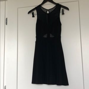 Black Dress with Mesh Cut Outs Urban Outfitters